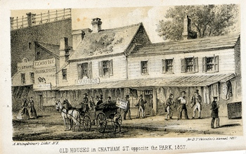 Old Houses in Chatham Street, opposite the park, 1857