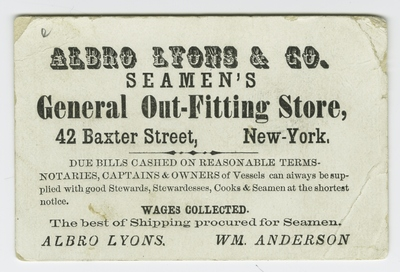 Business Card, Albro Lyons & Co Seamen's General Outfitting Store
