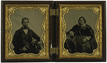 Double ambrotype portrait of Albro Lyons, Sr. and Mary Joseph Lyons