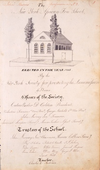 Penmanship with drawing of the exterior of the school