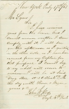 Letter from Sergeant John W. Rode to Albro Lyons, July 17, 1863